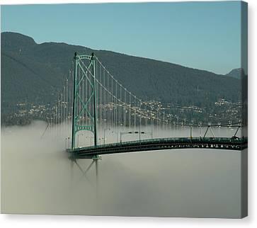 Fog Engulfing The Lion's Gate Bridge Canvas Print