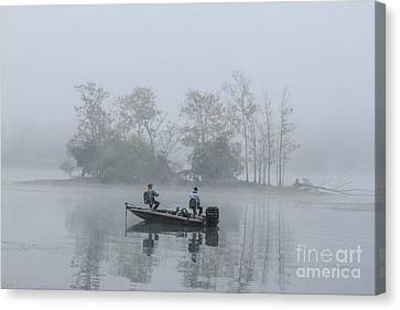 Canvas Print featuring the photograph Fog Fishing by Geraldine DeBoer