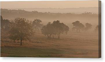 Fog In The Hills 2 Canvas Print by Paul Huchton