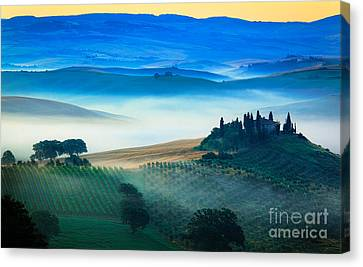 Fog In Tuscan Valley Canvas Print by Inge Johnsson