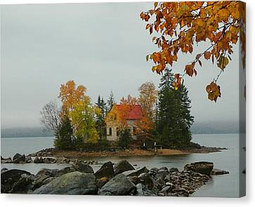 Canvas Print featuring the photograph Fog Island by Elaine Franklin