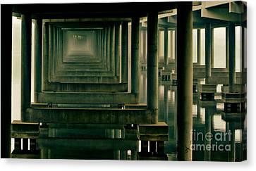 Foggy Morning Under Bridge Canvas Print by Robert Frederick