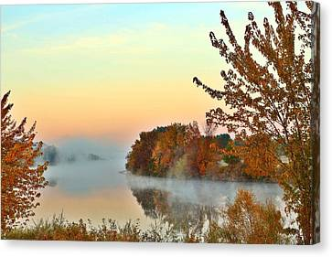 Canvas Print featuring the photograph Fog On The River by Lynn Hopwood