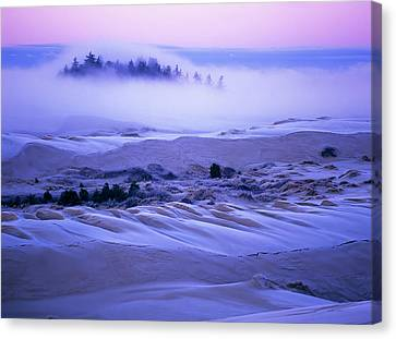 Fog Over The Sand Dunes At Dawn Canvas Print by Robert L. Potts
