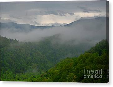 Gatlinburg Tennessee Canvas Print - Fog Over The Smokies by Nancy Mueller