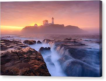 Nubble Lighthouse Canvas Print - Fog Over Tide by Michael Blanchette