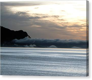 Canvas Print featuring the photograph Fog Roll Sunset by Jennifer Wheatley Wolf