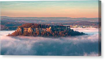 Fog Surrounding The Fortress Koenigstein Canvas Print