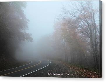 Foggy Autumn Day Canvas Print by Carolyn Postelwait