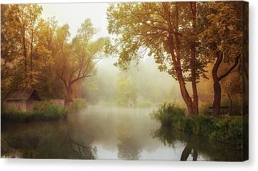 Shed Canvas Print - Foggy Autumn by Leicher Oliver