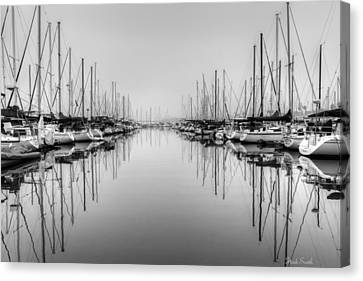 Canvas Print featuring the photograph Foggy Autumn Morning - Black And White by Heidi Smith