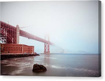 Canvas Print featuring the photograph Foggy Bay by Brian Bonham