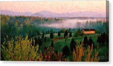 Foggy Blue Ridge Morning Canvas Print by Spyder Webb