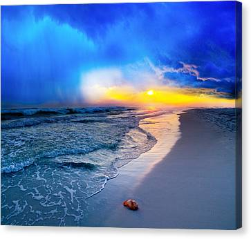 foggy blue sunrise - sea shell on Pensacola Beach Florida Canvas Print