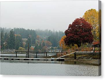 Canvas Print featuring the photograph Foggy Day In October by E Faithe Lester