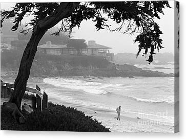 Foggy Day On Carmel Beach Canvas Print by James B Toy