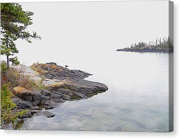 Foggy Day On Lake Superior 2 Canvas Print by Sandra Updyke