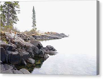 Foggy Day On Lake Superior Canvas Print by Sandra Updyke