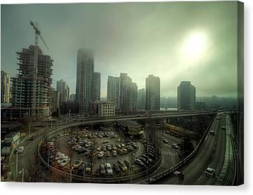 Foggy Downtown Vancouver Canvas Print by Eti Reid