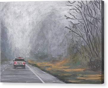 Canvas Print featuring the painting Foggy Drive Home by Robert Decker