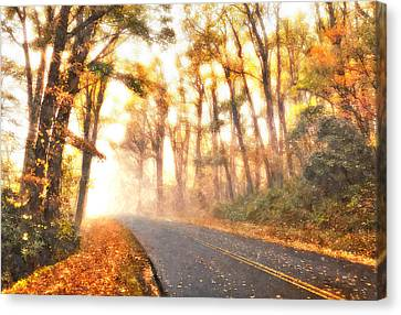 Foggy Fall Wonderland - Blue Ridge Parkway II Canvas Print by Dan Carmichael