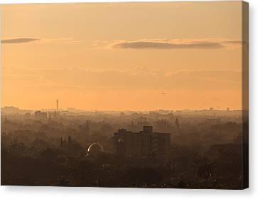 Foggy Miami Skyline Canvas Print by Jonathan Gewirtz