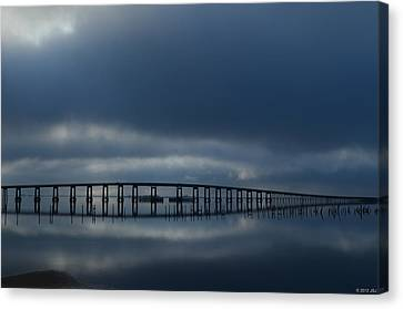 Canvas Print featuring the photograph Foggy Mirrored Navarre Bridge At Sunrise by Jeff at JSJ Photography