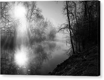 Foggy Misty Morning Sunrise On James River Canvas Print by Jennifer White