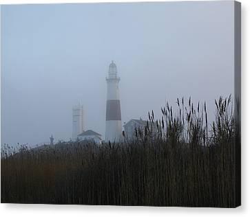 Foggy Montauk Lighthouse Canvas Print by Karen Silvestri