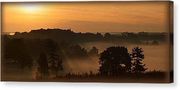 Foggy Morning At Valley Forge Canvas Print by Michael Porchik
