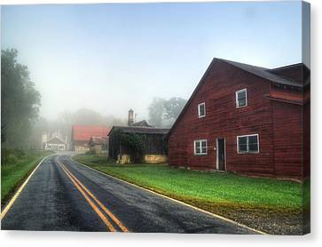 Foggy Morning In Brasstown Nc Canvas Print by Greg and Chrystal Mimbs