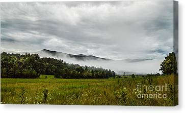 Canvas Print featuring the photograph Foggy Morning In The Mountains. by Debbie Green