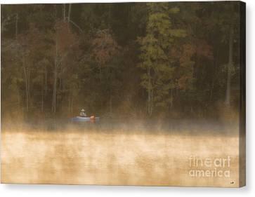 Foggy Morning Kayaking Canvas Print