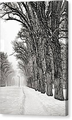 Foggy Morning Landscape - Fractalius 7 Canvas Print by Steve Ohlsen