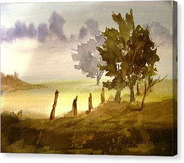 Foggy Morning Canvas Print by Larry Hamilton