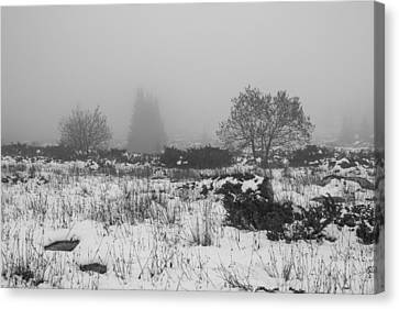 Canvas Print featuring the photograph Foggy Morning Mountain Snow by Jivko Nakev