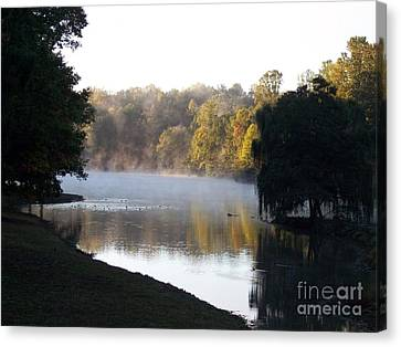 Foggy Morning On Lake Lanier Canvas Print by Angelia Hodges Clay