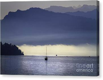 Foggy Morning On Lake Lucerne Canvas Print by George Oze
