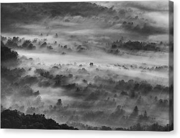 Canvas Print featuring the photograph Foggy Morning On The Blue Ridge Parkway by Photography  By Sai