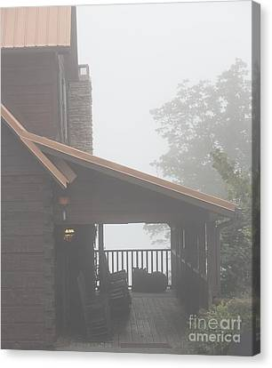 Foggy Morning Porch Canvas Print by Kay Pickens
