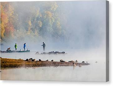 Foggy Morning St Croix River Stillwater Mn Canvas Print
