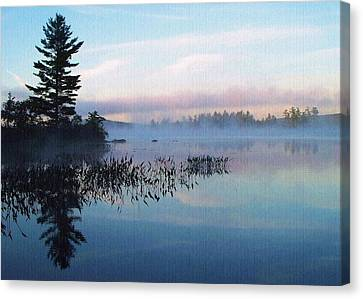 Foggy Morning's Chill -- On Parker Pond Canvas Print by Joy Nichols
