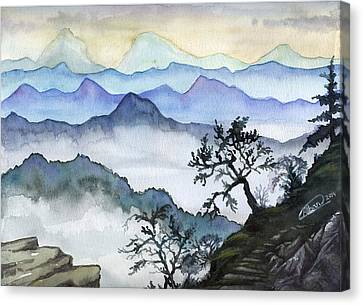 Foggy Mountaines Sunset View  Canvas Print by Alban Dizdari