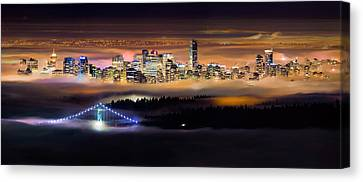 North Vancouver Canvas Print - Foggy Night by Alexis Birkill