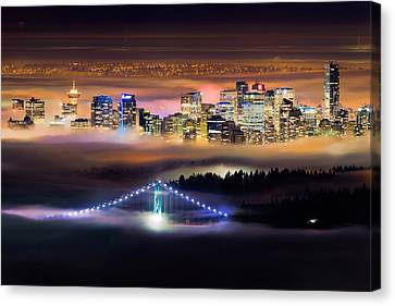 Foggy Night Crop Canvas Print