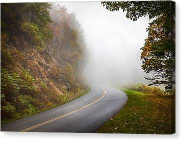 Foggy Parkway Canvas Print by David Cote