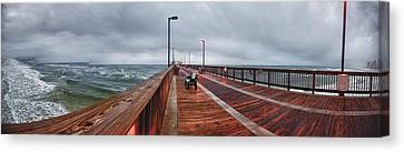 Canvas Print featuring the digital art Foggy Pier  by Michael Thomas