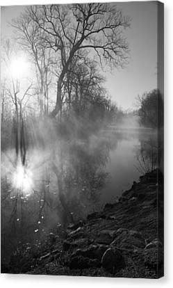 Foggy River Morning Sunrise Canvas Print by Jennifer White