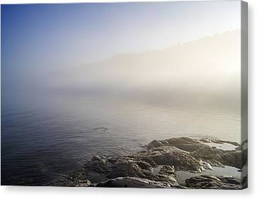 Canvas Print featuring the photograph Foggy Seashore by Arkady Kunysz