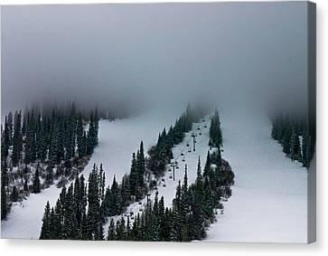 Canvas Print featuring the photograph Foggy Ski Resort by Eti Reid